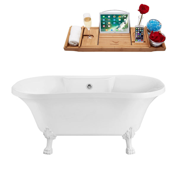 "Streamline Soaking Clawfoot 60"" Tub in White w/ External Drain Set"