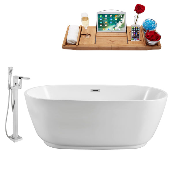"Streamline 67"" Freestanding Tub, Faucet and Tray Set 