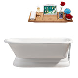 "Streamline 66"" Cast Iron Soaking Freestanding Tub With External Drain 
