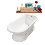 "Streamline 66"" Cast Iron Soaking Freestanding Tub 