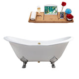 "61"" Soaking Clawfoot Tub W/ External Drain"
