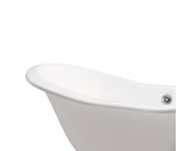 "Streamline 72"" Cast Iron Soaking Freestanding Tub 