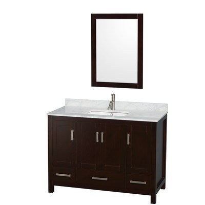 "Wyndham Collection Sheffield 48"" Single Bathroom Vanity Set with Mirror WCS141448SESCMUNSM24"