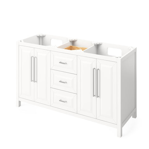 "Jeffrey Alexander Cade Modern 60"" White Double Sink Vanity VKITCAD60WHWCR"