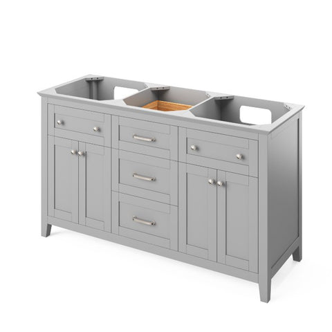 "Jeffrey Alexander Chatham Traditional 60"" Grey Double Sink Vanity VKITCHA60GRWCR"