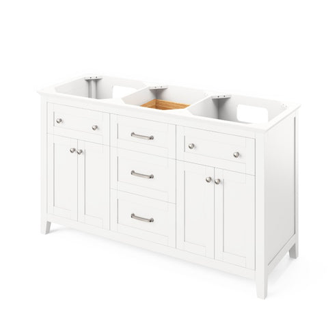 "Jeffrey Alexander Chatham Traditional 60"" White Double Sink Vanity VKITCHA60WHWCR"