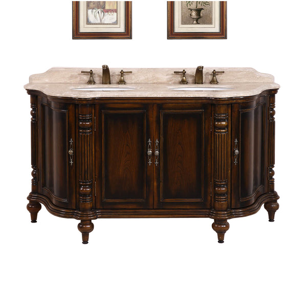 "67"" Double Sink Vanity in Antique Brown w/ Travertine ..."