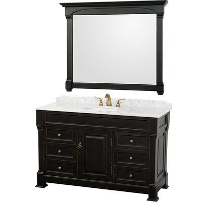 "Wyndham Collection Andover 55"" Single Bathroom Vanity Set with Mirror WCVTS55BLCW"