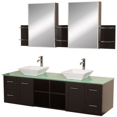 "Avara 72"" Espresso Double Bathroom Vanity Set with Mirror WCS007SH72ESGRD28WH"