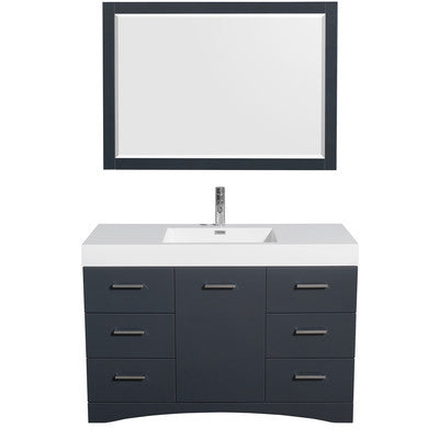 "Wyndham Collection Delray 48"" Single Bathroom Vanity Set with Mirror WCR440048SGWARINTM46"