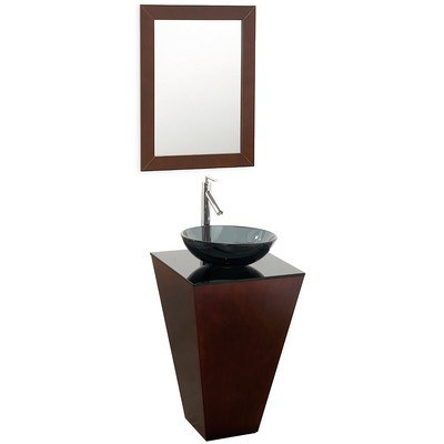 "Wyndham Collection Esprit 20"" Single Pedestal Bathroom Vanity Set with Mirror WCSCS004ESSMB015"