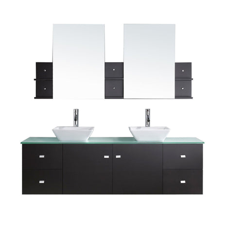 "Virtu USA Clarissa 72"" Double Bathroom Vanity with Aqua Tempered Glass Top and Square Sink"
