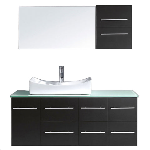"Virtu USA Ceanna 55"" Single Bathroom Vanity with Aqua Tempered Glass Top and Square Sink"
