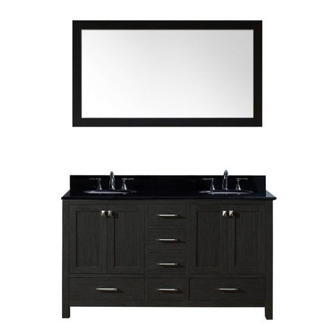 "Virtu USA Caroline Premium 60"" Double Bathroom Vanity in Zebra Grey"