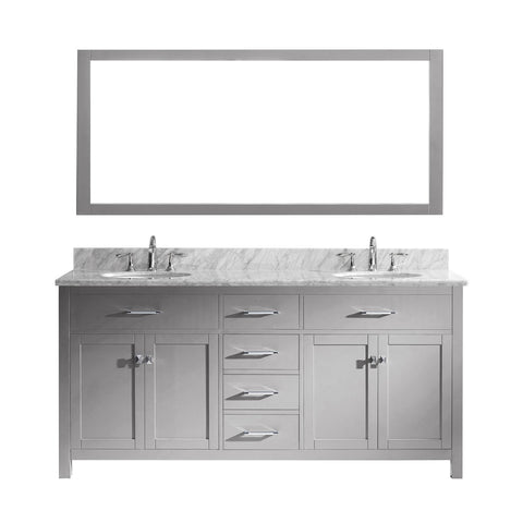 "Virtu USA Caroline 72"" Double Bathroom Vanity Grey with Marble Top"