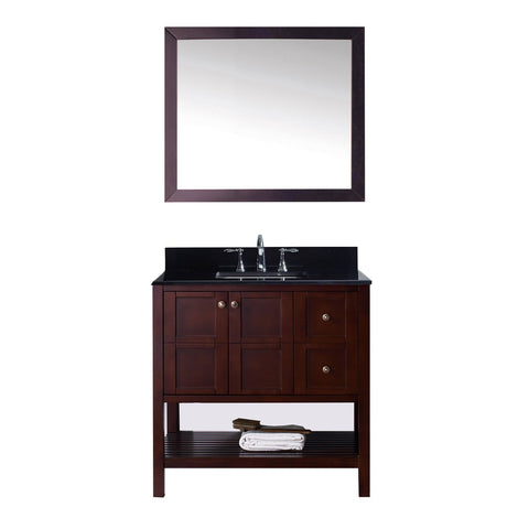 "Winterfell 36"" Single Bathroom Vanity in Cherry w/ Granite Top & Square Sink"