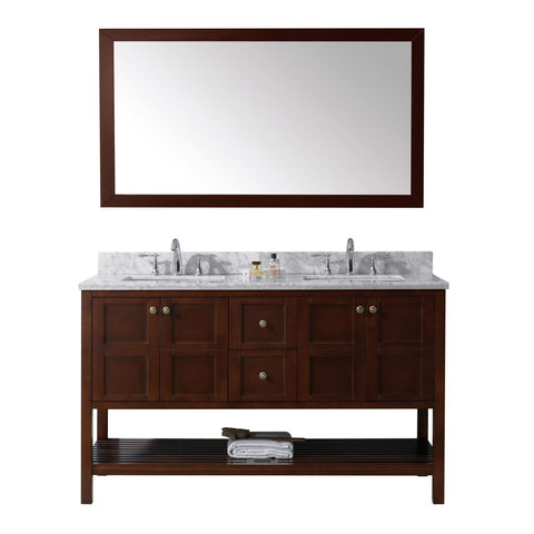 "Virtu USA Winterfell 60"" Double Bathroom Vanity with Marble Top & Square Sink"