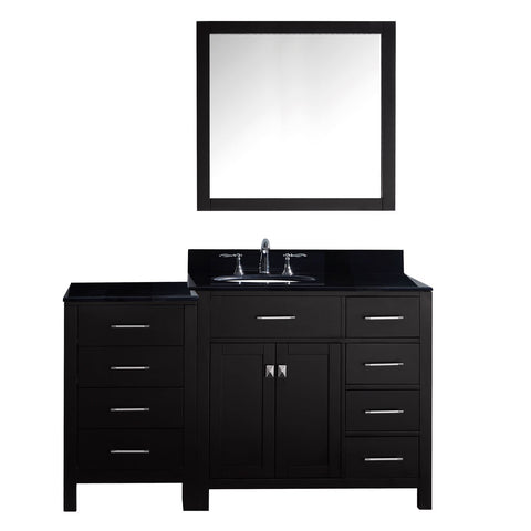 "Virtu USA Caroline Parkway 57"" Single Bathroom Vanity with Black Galaxy Granite Top - Right Offset"