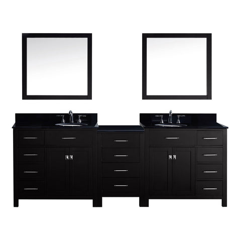 "Virtu USA Caroline Parkway 93"" Double Bathroom Vanity with Black Galaxy Granite Top"