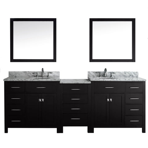 "Virtu USA Caroline Parkway 93"" Double Bathroom Vanity with Marble Top"