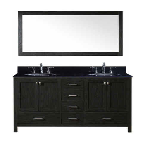 "Virtu USA Caroline Premium 72"" Double Bathroom Vanity in Zebra Grey"