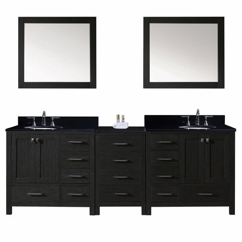"Virtu USA Caroline Premium 92"" Double Bathroom Vanity in Zebra Grey"