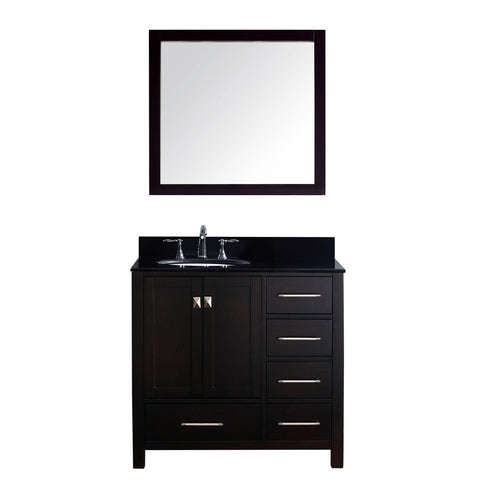 "Virtu USA Caroline Avenue 36"" Single Bathroom Vanity Black Galaxy Granite Top"