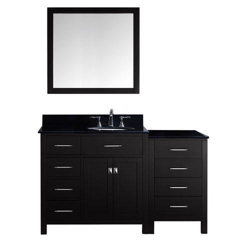 "Virtu USA Caroline Parkway 57"" Single Bathroom Vanity with Black Galaxy Granite Top - Left Offset"