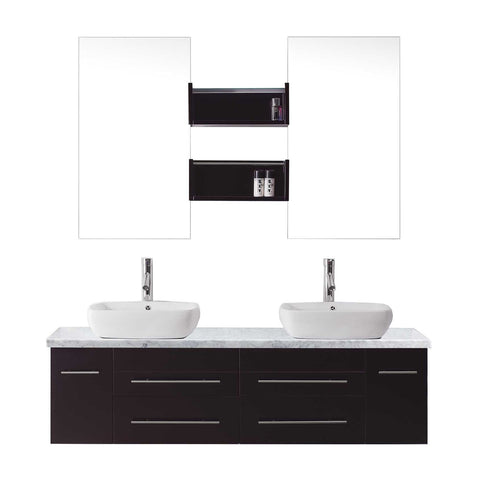 "Virtu USA Augustine 59"" Double Bathroom Vanity with Marble Top and Square Sink"