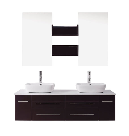 "Virtu USA Augustine 59"" Double Bathroom Vanity with White Engineered Stone Top and Square Sink"