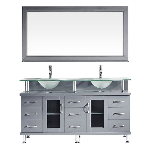"Virtu USA Vincente Rocco 59"" Double Bathroom Vanity with Glass Countertop"