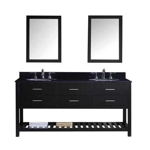 "Virtu USA Caroline Estate 72"" Double Bathroom Vanity with Black Galaxy Granite Top and Round Sink with Mirrors"