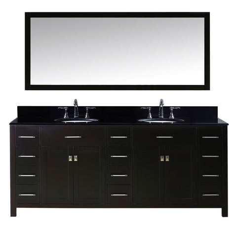 "Virtu USA Caroline Parkway 78"" Double Bathroom Vanity with Black Galaxy Granite Top and Mirror"
