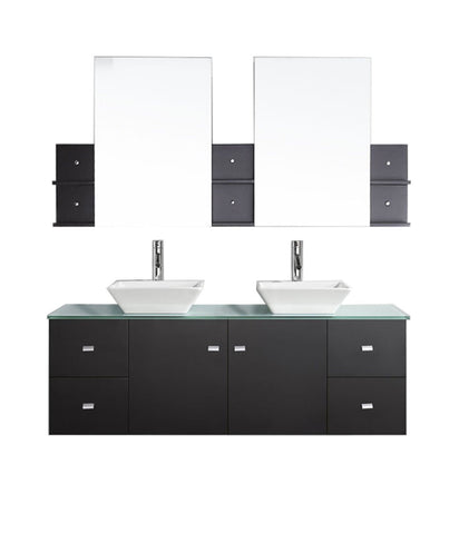 "Virtu USA Clarissa 61"" Double Bathroom Vanity with Aqua Tempered Glass Top and Square Sink"