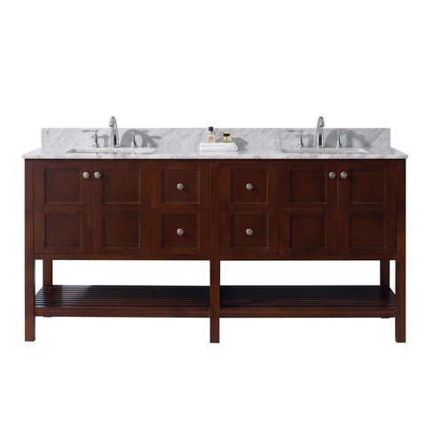"Virtu USA Winterfell 72"" Double Bathroom Vanity with Marble Top and Square Sink"
