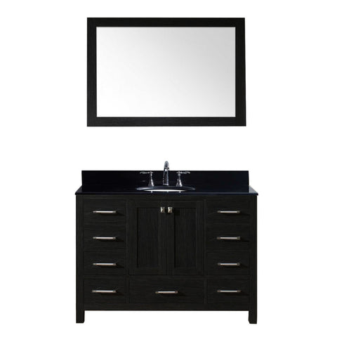 "Virtu USA Caroline Premium 48"" Single Bathroom Vanity in Zebra Grey"