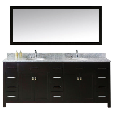 "Virtu USA Caroline Parkway 78"" Double Bathroom Vanity with Marble Top and Round Sink"