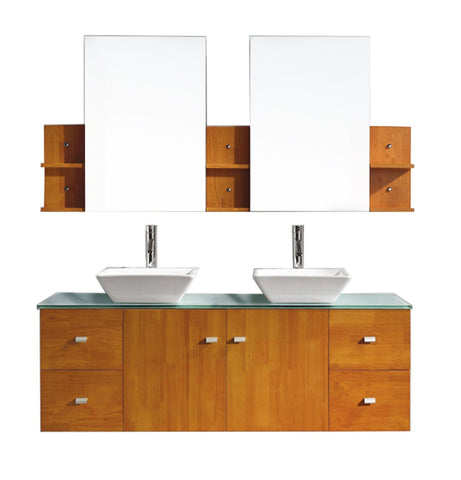 "Virtu USA Clarissa 61"" Double Bathroom Vanity in Honey Oak with Aqua Tempered Glass Top and Square Sink"
