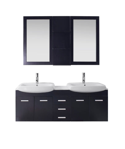 "Virtu USA Ophelia 59"" Double Bathroom Vanity with countertop"