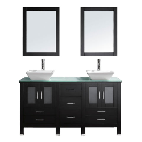 "Virtu USA Bradford 60"" Double Bathroom Vanity with Aqua Tempered Glass Top and Square Sink"