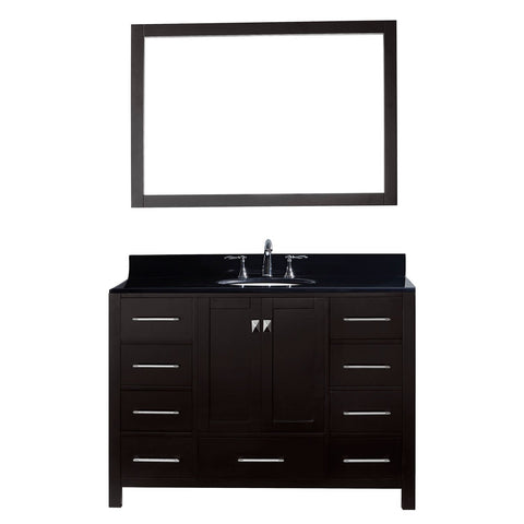 "Virtu USA Caroline Avenue 48"" Single Bathroom Vanity with Black Galaxy Granite Top"