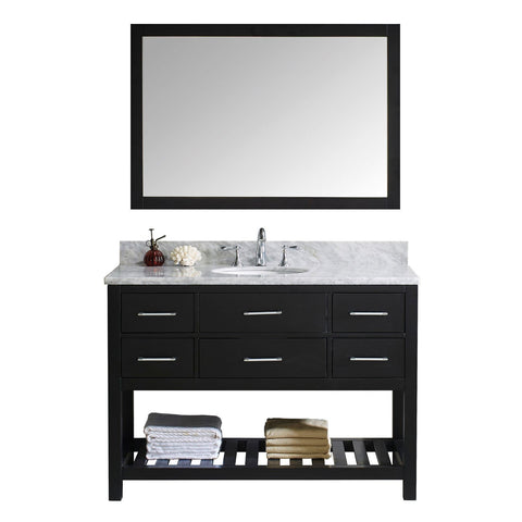 "Virtu USA Caroline Estate 48"" Single Bathroom Vanity with Marble Top and Mirror"