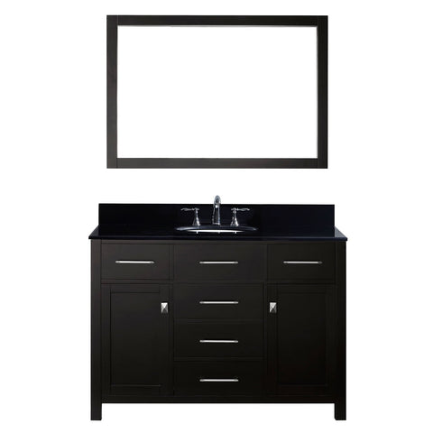 "Virtu USA Caroline 48"" Single Bathroom Vanity with Black Galaxy Granite Top"