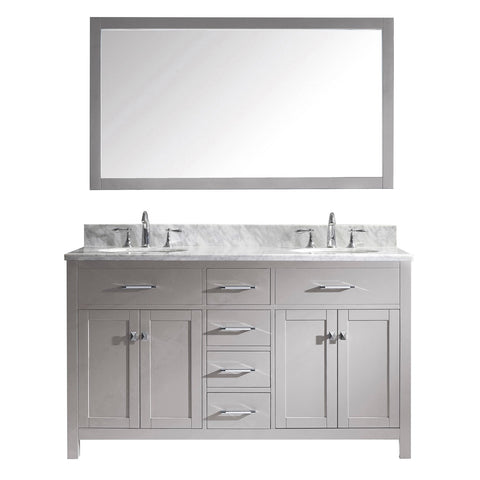 "Virtu USA Caroline 60"" Double Bathroom Vanity with Marble Top"