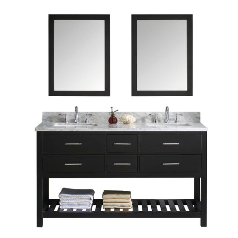 "Virtu USA Caroline Estate 60"" Double Bathroom Vanity with Marble Top and Square Sink with Mirrors"