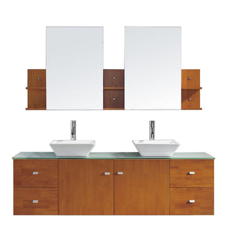 "Virtu USA Clarissa 72"" Double Bathroom Vanity in Honey Oak with Aqua Tempered Glass Top and Square Sink"