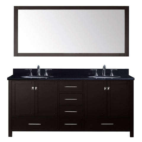 "Virtu USA Caroline Avenue 72"" Double Bathroom Vanity with Black Galaxy Granite Top"