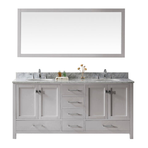 "Virtu USA Caroline Avenue 72"" Double Bathroom Vanity with Marble Top"