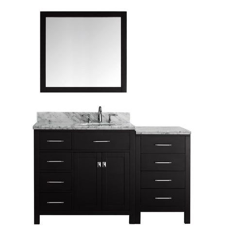 "Virtu USA Caroline Parkway 57"" Single Bathroom Vanity with Marble Top - Left Offset"