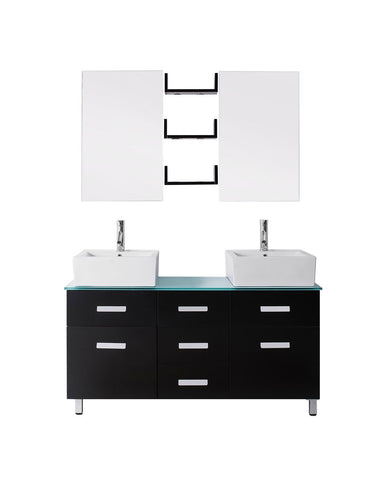 "Virtu USA Maybell 55"" Double Bathroom Vanity with countertop"